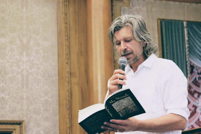 "The Norwegian author Karl Uwe Knausgård reading from his book ""my struggle"""